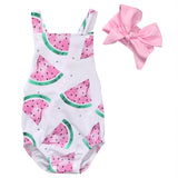 Summer Baby Girls Sleeveless Watermelon Backless Halter Jumpsuit +Headband 2pcs