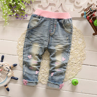 Baby Girls Mouse Washed Denim Jeans