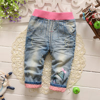 Baby Girls Embroidery Distrressed Washed Denim Jeans