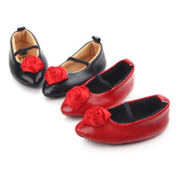 PU Leather Baby Girl Shoes with Rose Flower