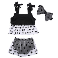 0-3Y Toddler Girl Summer Sleeveless Polka Dot Tank Tops +Bottom + Bow 3PCS