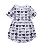 1-6 Years Short Sleeve Cute Cartoon Bear Cotton Casual Dress