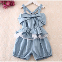 BIG Girl Washed Denim strap Jumpsuit Cowboy Blue