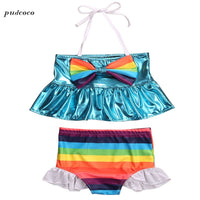 Cute Rainbow Striped Sailor Bikini