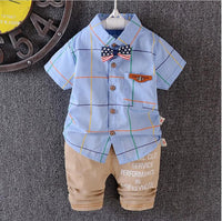 0 to 3 years baby boys bowknot plaid shirt 2 PCS/set