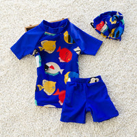 Cartoon Fish Printed Swimsuit Boys