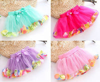 Adorable Baby Girls Bow Petals Tulle Skirt For 3-8Y