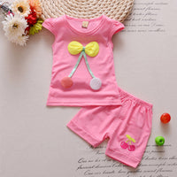 1-3 Baby Girl Cherry Pattern Soft T-shirt + Shorts Set