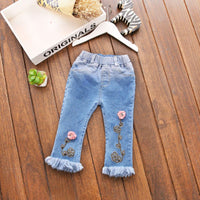 Fashion Baby Girls Washed Vintage Denim Jeans