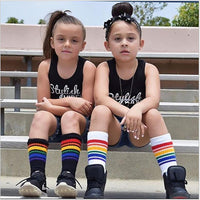 children socks rainbow stripe 0 to 9y