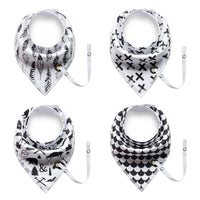 4Pcs Unique Cut Cartoon Triangle  Baby Bibs With Pacifier clip