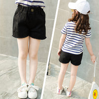 Girls Solid Denim Pocket Short