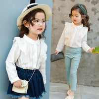 2-10 Y Cotton Lace Girls Blouse White