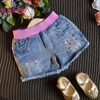 girls Threaded waist rivet ripped denim shorts