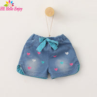 girls love embroidery lace denim shorts