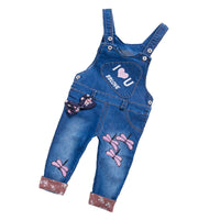 Girls Bib Denim Trousers