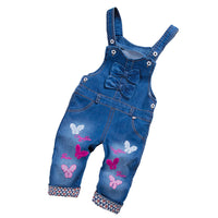 Baby Girls Bow Denim Bib Pants