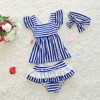 Baby Girls Striped Ruffles Swimwear