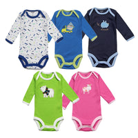 5Pcs Unisex Baby Rompers Long Sleeve
