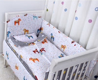 Fox 3D Crib Baby Bedding Set Cotton 5 Items Cot Quilt/Bed Around/Bed Skirt/Mattress Cover/blanket
