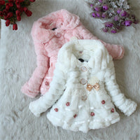 NEW Girls Fur Coat With Pearl Lace Flower