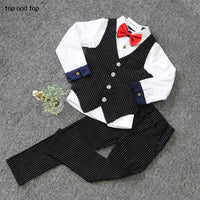 NEW Boys stripe vest+white shirt+ pants 3 pcs
