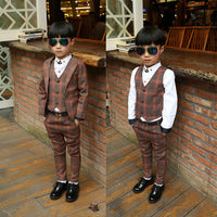 NEW Boys Formal Suit For Weddings JacketsVest+Pants 3pcs 3-14Y