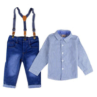 NEW 2PCS Baby Boy Clothing Set Strip Tops+Overall Pants