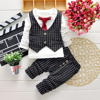 NEW 2PC Boys Striped Formal Wedding Party Suit Tie T-Shirt + Pants Set