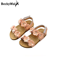 NEW Girls Soft Leather Flowers Sandals