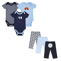 NEW Baby Clothing Set Short Sleeve 6PCS Baby Bodysuit+ Pants 0-12M 12 STYLES