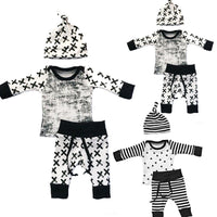 NEW Baby Boy Black Long Sleeve shirt+ Pan+ Hat 3pcs
