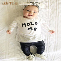 NEW Baby Girl Boy  HOLD ME T-shirt  + PU Leather Pants 12 STYLES