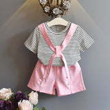 NEW MAY 22 Girls Lovely Striped Top + Pearl Shorts