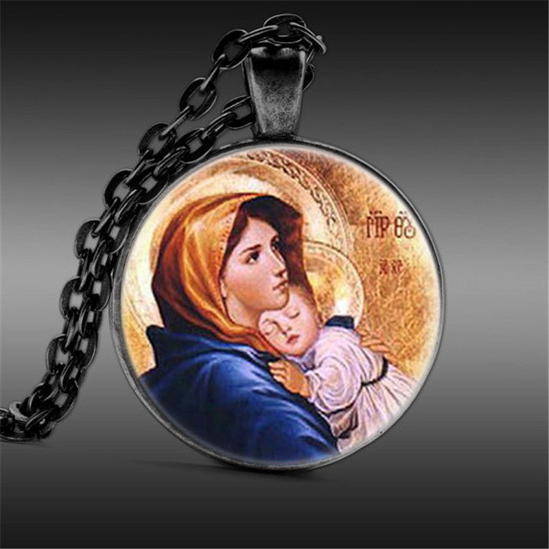 Virgin Mary with Child Pendant Necklace