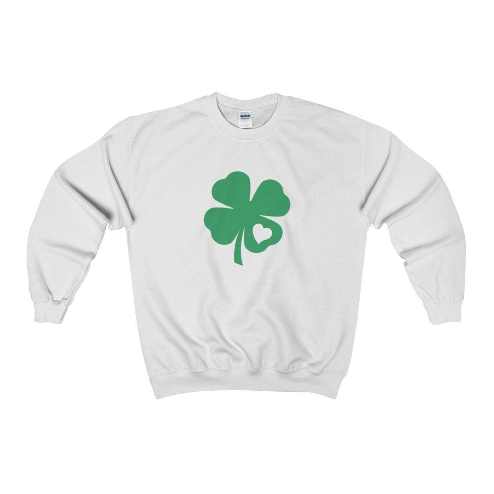 St Patricks Day Irish Shamrock Love Heart Crewneck Sweatshirt | Plus Sizes | - Miss Deplorable