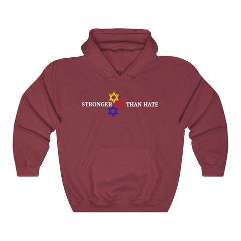 Love Is Stronger Than Hate Hoodie Star of David Hooded Sweatshirt - Miss Deplorable
