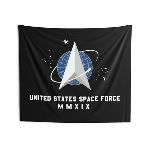 Space Force Flag United States Space Force Logo MMXIX Indoor Wall Tapestries for $89.00 at Miss Deplorable