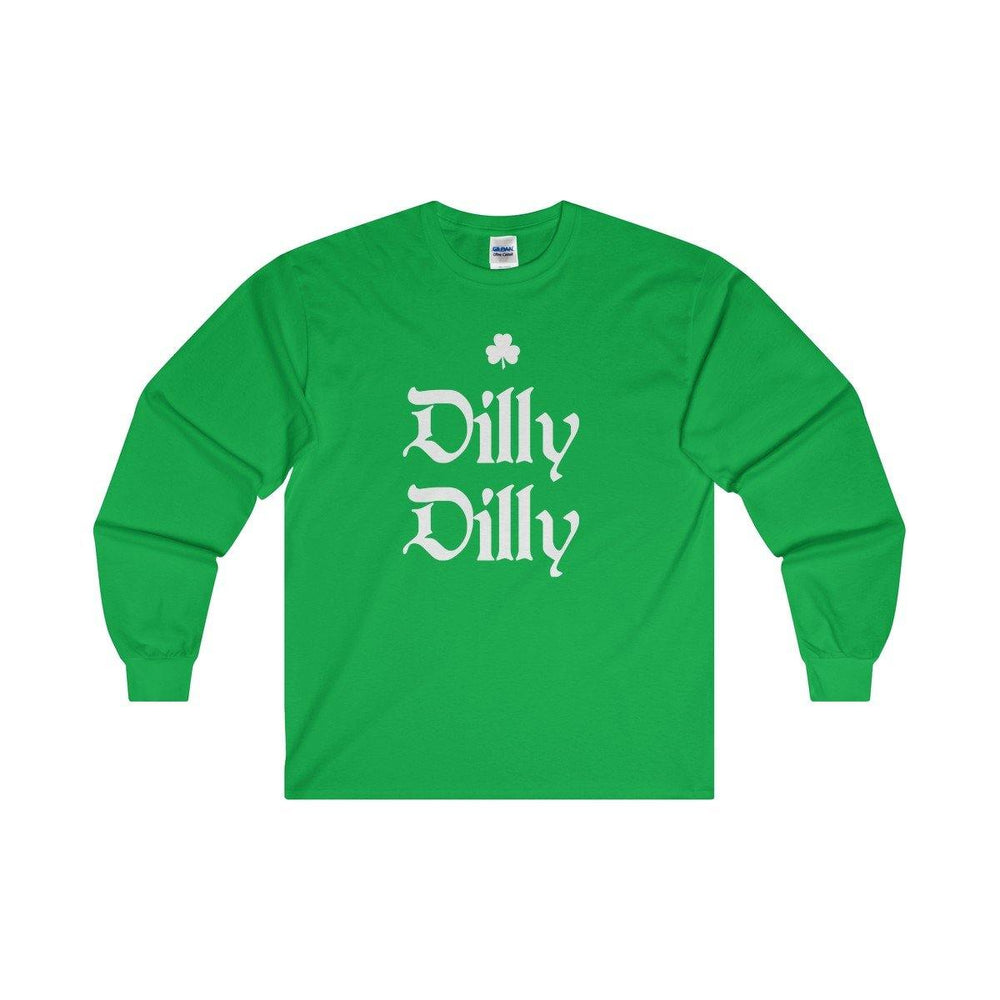 St.Patricks Day Dilly Dilly Irish Shamrock Green Long Sleeve Shirt - Miss Deplorable