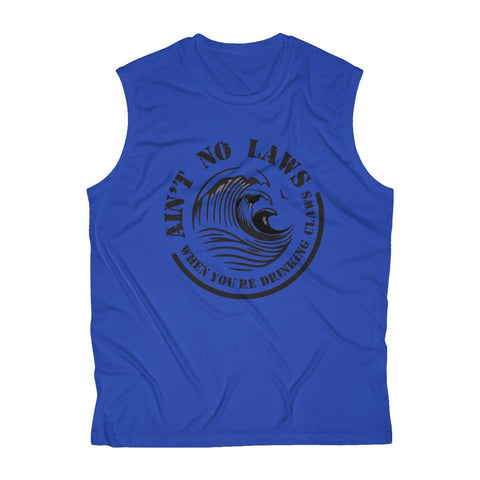 Aint No Laws When Your Drinking Claws Men's Sleeveless Performance Tee - White Claws T-Shirt - Mens Drinking Shirt - Miss Deplorable