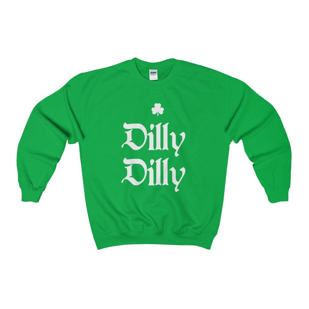 Green St. Patricks Day Dilly Dilly Irish Shamrock Crewneck Sweatshirt - Miss Deplorable