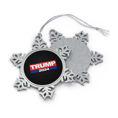 Donald Trump 2024 Pewter Christmas Snowflake Ornament for $29.00 at Miss Deplorable