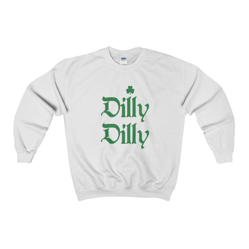 St.Patricks Day Dilly Dilly White Crewneck Sweatshirt With Irish Shamrock - Miss Deplorable