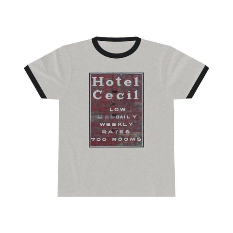 Hotel Cecil T Shirt - Short Sleeve Ringer Tee for $29.00 at Miss Deplorable