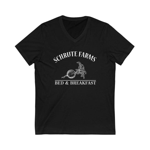 Schrute Farms Short Sleeve V-Neck T-Shirt - Beets Bed And Breakfast Shirt for $25.00 at Miss Deplorable