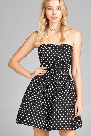 Ladies fashion strapless fit body smocked back w/belt detail inside tulle flare dot print tube dress - Miss Deplorable