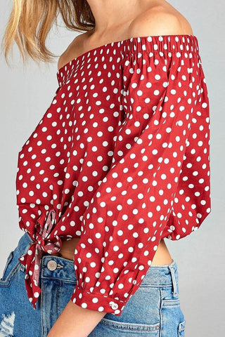 Ladies fashion off the shoulder w/knot front dot print cotton spandex top for $17.50 at Miss Deplorable