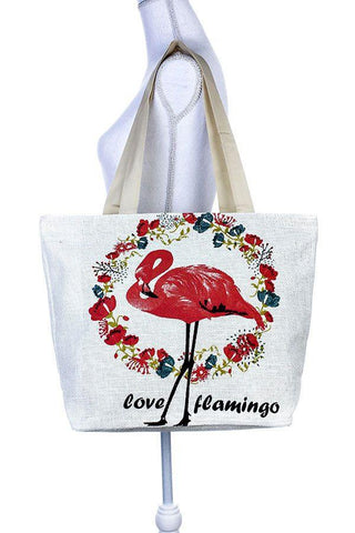 Painted flamingo floral wreath tote bag for $24.50 at Miss Deplorable