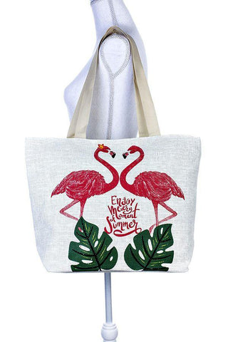 Painted two flamingo tote bag for $24.50 at Miss Deplorable