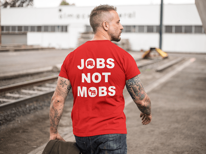 Jobs Not Mobs T Shirt - Republican Donald Trump Tee